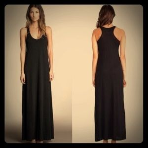 Velvet Vintage Slub Black maxi dress